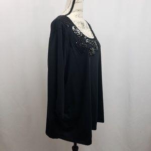 Avenue Tops - Avenue Plus Size 3/4 Sleeve Knit Top w Sequins